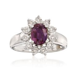 1.60 Carat Synthetic Alexandrite Ring With Diamond Accents in Sterling Silver, , default