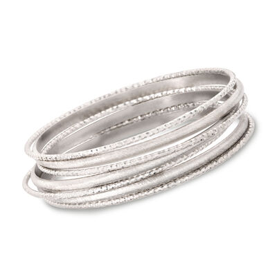 Italian Sterling Silver Jewelry Set: Seven Bangle Bracelets, , default