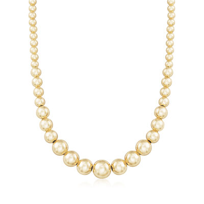 Italian 6-14mm 18kt Gold Over Sterling Silver Graduated Bead Necklace