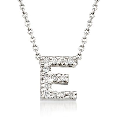 "Roberto Coin ""Love Letter"" Diamond Accent Initial ""E"" Necklace in 18kt White Gold"