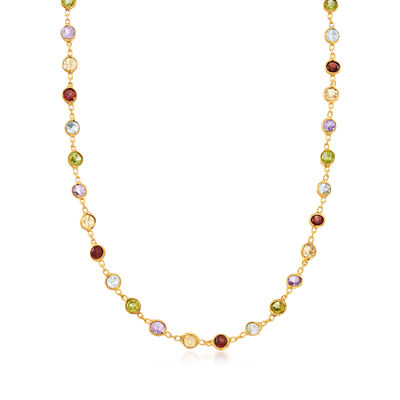 8.85 ct. t.w. Multi-Gem Necklace in 14kt Gold Over Sterling