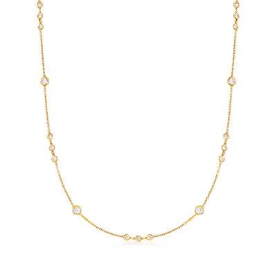 2.10 ct. t.w. Bezel-Set CZ Station Necklace in 18kt Gold Over Sterling