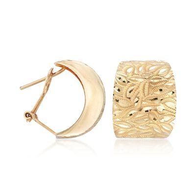 14kt Yellow Gold Leaf Pattern Hoop Earrings, , default