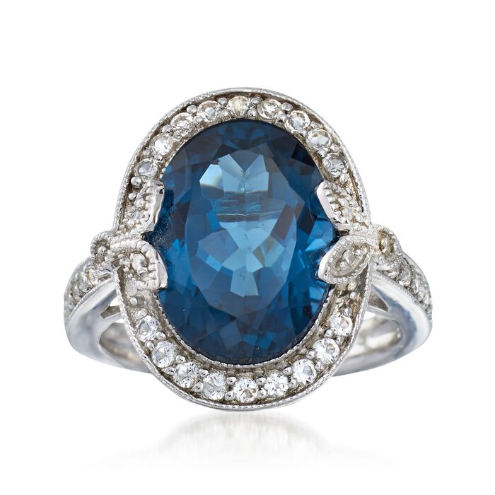 7.89 ct. t.w. London Blue and White Topaz Ring with Diamond Accents in Sterling Silver
