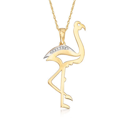 14kt Yellow Gold Cut-Out Flamingo Pendant Necklace with Diamond Accents
