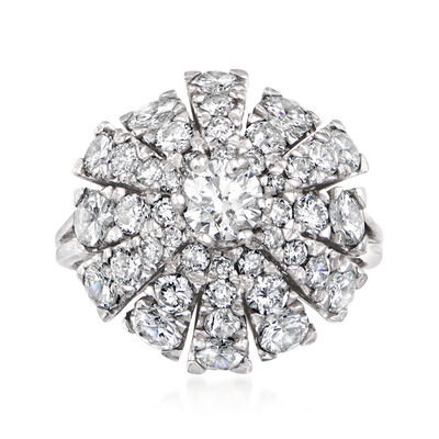 C. 1970 Vintage 2.65 ct. t.w. Diamond Floral Cluster Ring in 18kt White Gold