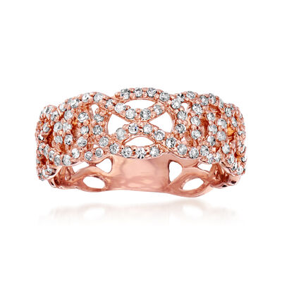 .53 ct. t.w. Diamond Openwork Ring in 14kt Rose Gold