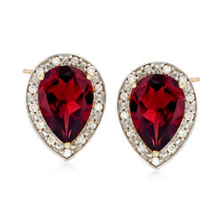 5.50 ct. t.w. Garnet and .15 ct. t.w. Diamond Pear-Shaped Frame Earrings in 14kt Yellow Gold , , default