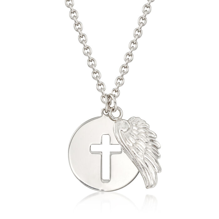 Italian Sterling Silver Cross and Angel Wing Necklace. 18""