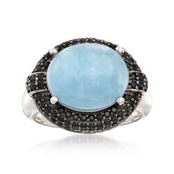 9.25 Carat Aquamarine and 1.30 ct. t.w. Black Spinel Ring in Sterling Silver, , default