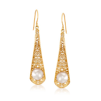 7.5-8mm Cultured Pearl Filigree Teardrop Earrings in 14kt Yellow Gold
