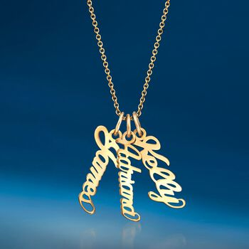 14kt Yellow Gold Personalized Script Name Charm Necklace , , default