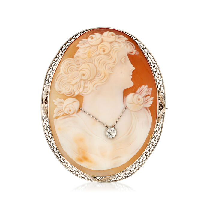 C. 1940 Vintage Pink Shell Cameo and .30 Carat Diamond Pin in 10kt White Gold