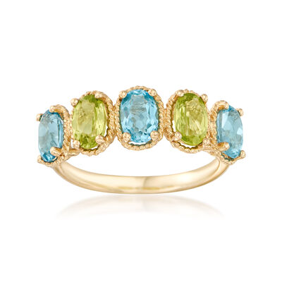 1.60 ct. t.w. Blue Topaz and .90 ct. t.w. Peridot Ring in 14kt Yellow Gold  , , default