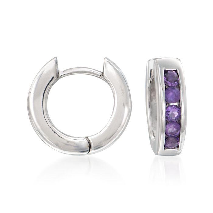 ".70 ct. t.w. Amethyst Hoop Earrings in Sterling Silver. 1/2"""
