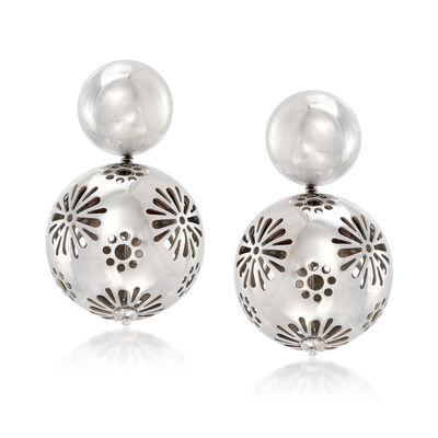 Italian Sterling Silver Floral Ball Drop Earrings, , default