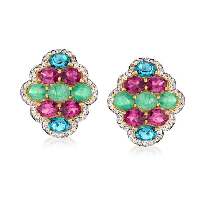 7.60 ct. t.w. Multi-Gemstone Earrings in 18kt Gold Over Sterling