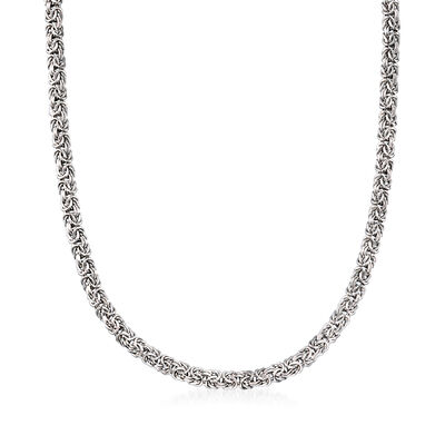 Sterling Silver Byzantine Necklace with Magnetic Clasp