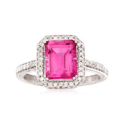 3.00 Carat Pink Topaz and .26 ct. t.w. Diamond Ring in 14kt White Gold, , default