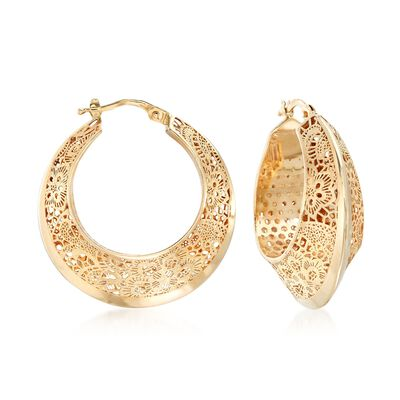 Italian 14kt Yellow Gold Floral Filigree Hoop Earring, , default