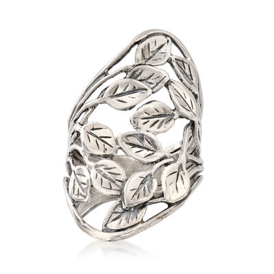 Openwork Leaf Vine Ring in Sterling Silver