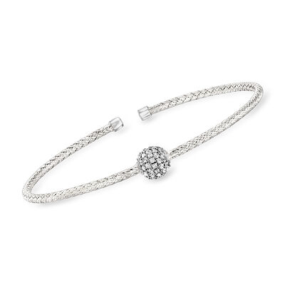 "Charles Garnier ""Paolo"" .61 ct. t.w. CZ Station Cuff Bracelet in Sterling Silver"