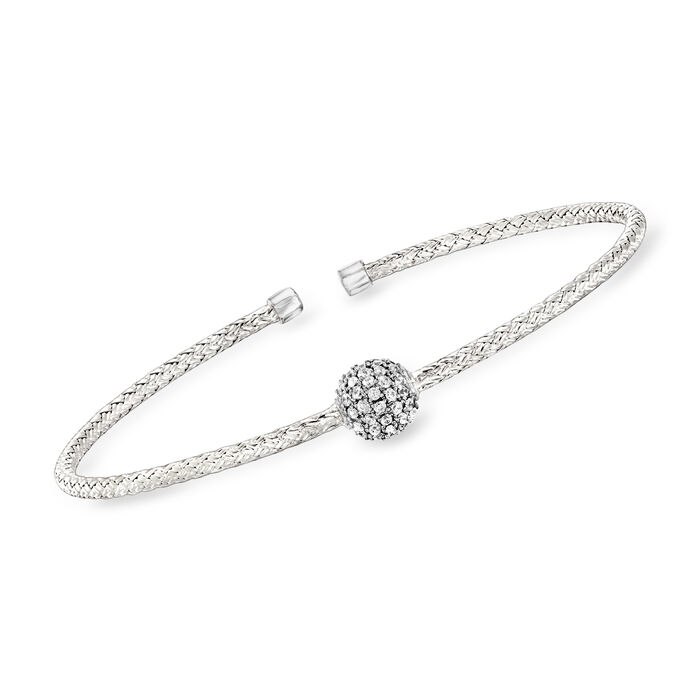"Charles Garnier ""Paolo"" .61 ct. t.w. CZ Station Cuff Bracelet in Sterling Silver. 7"", , default"