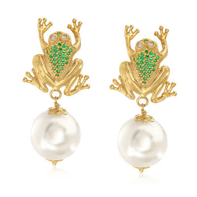 Italian Cultured Pearl and .45 ct. t.w. Green CZ Frog Earrings in 18kt Gold Over Sterling, , default