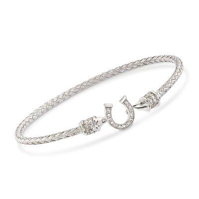 "Charles Garnier ""Lucky"" .25 ct. t.w. CZ Horseshoe Bracelet in Sterling Silver"