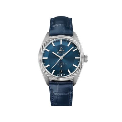 Omega Constellation Globemaster Men's 39mm Stainless Steel Watch With Blue Leather Strap, , default