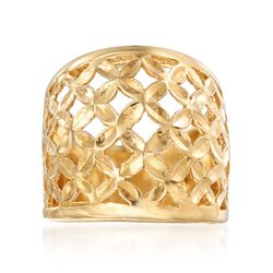 Italian 18kt Gold Over Sterling Silver Lattice Ring, , default