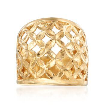 Italian 18kt Gold Over Sterling Silver Lattice Ring, , default