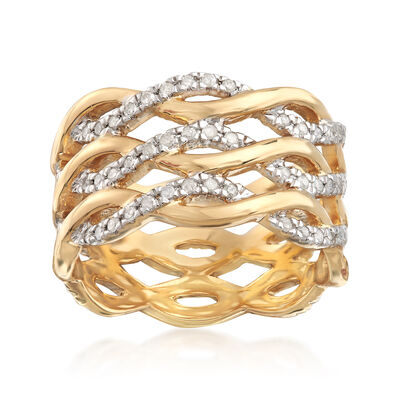 .50 ct. t.w. Diamond Wavy Eternity Band in 18kt Gold Over Sterling Silver, , default