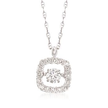 ".50 ct. t.w. Floating Diamond Cushion Halo Pendant Necklace in 14kt White Gold. 18"", , default"