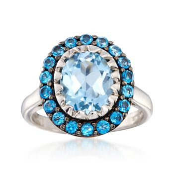 3.90 ct. t.w. Sky and London Blue Topaz Ring in Sterling Silver, , default