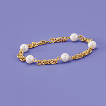 7mm Cultured Pearl Byzantine Bracelet in 14kt Yellow Gold, , default