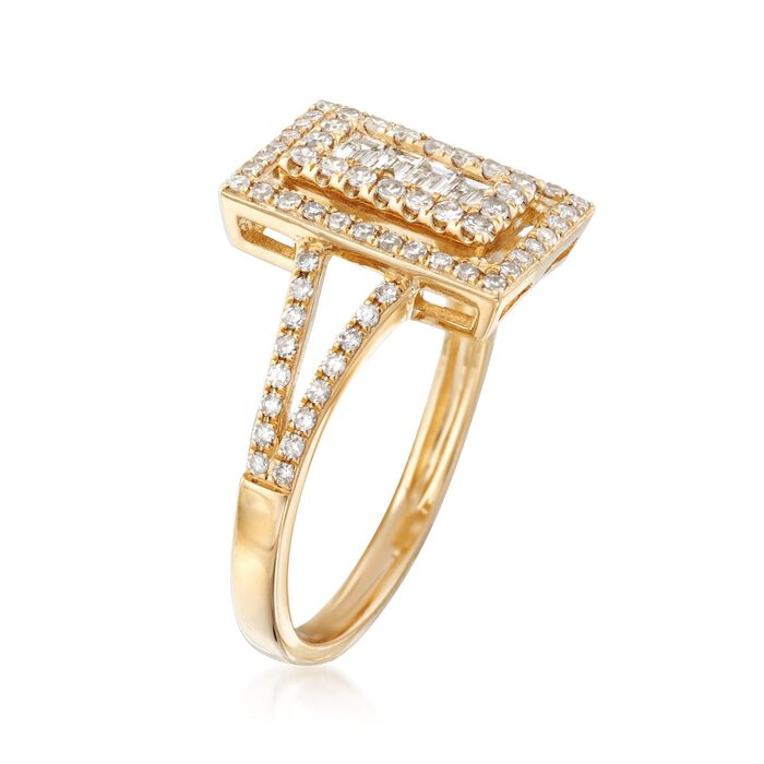 .58 ct. t.w. Baguette and Round Diamond Rectangle Ring in 14kt Yellow Gold