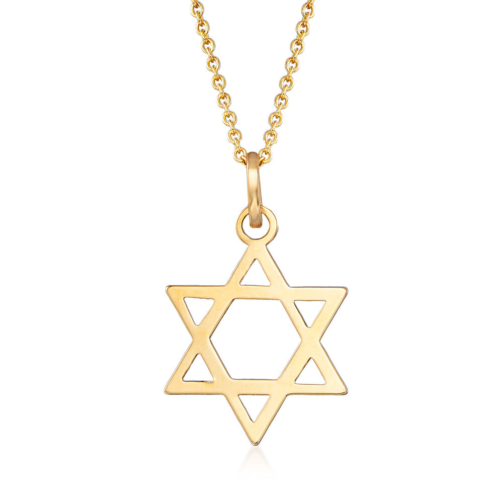 14kt yellow gold star of david pendant necklace 18 ross simons 14kt yellow gold star of david pendant necklace 18quot default aloadofball Image collections