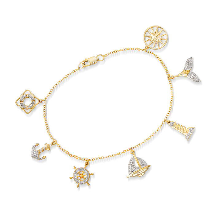 """.33 ct. t.w. Diamond Nautical Charm Bracelet in Sterling Silver and 18kt Gold Over Sterling. 7"""""""