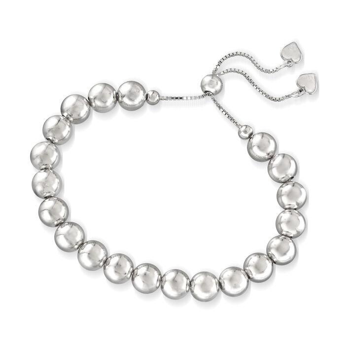 8mm Sterling Silver Bead Bolo Bracelet