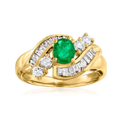 C. 1980 Vintage .68 ct. t.w. Diamond and .40 Carat Emerald Ring in 18kt Yellow Gold
