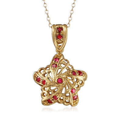 C. 1980 Vintage .65 ct. t.w. Ruby Swirled Star Pendant Necklace in 18kt Yellow Gold, , default