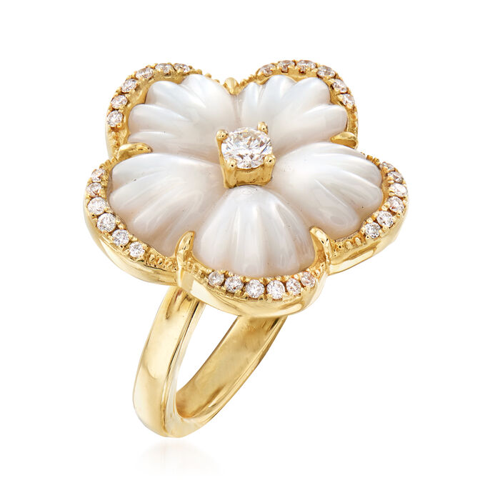 Mother-Of-Pearl and .38 ct. t.w. Diamond Flower Ring in 14kt Yellow Gold