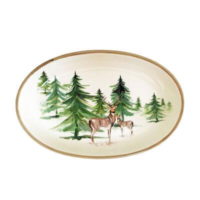 "Abbiamo Tutto Italian ""Woodlands"" Ceramic Oval Serving Bowl, , default"