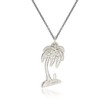 """14kt White Gold Palm Tree Pendant Necklace. 18"""", , default"""