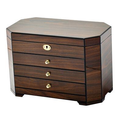 Walnut Wood Veneer Locking Jewelry Box