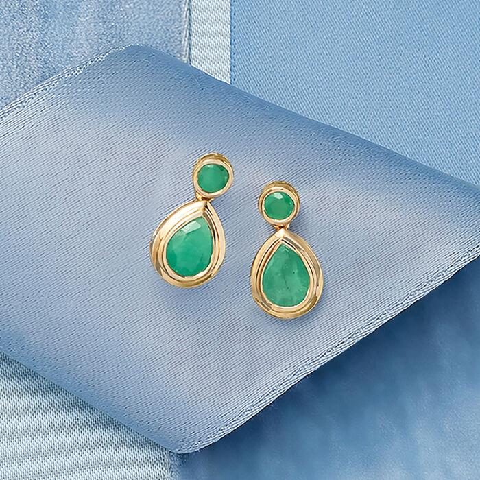 2.40 ct. t.w. Emerald Drop Earrings in 14kt Yellow Gold