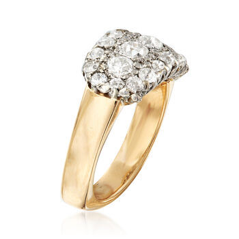 C. 1950 Vintage 1.70 ct. t.w. Diamond Cluster Ring with 14kt White Gold in 14kt Yellow Gold. Size 6.5, , default