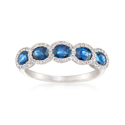 1.70 ct. t.w. Sapphire and .19 ct. t.w. Diamond Ring in 14kt White Gold, , default