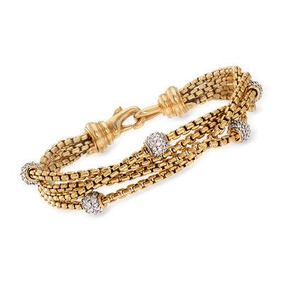 C. 1990 Vintage David Yurman 1.50 ct. t.w. Diamond Bracelet in 18kt Two-Tone Gold, , default